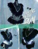 Free Shipping New Feather Led Night Dancing Led Dress Performance Girls Women Led Clothing