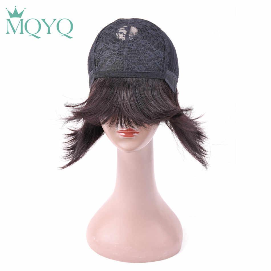 MQYQ бразильский прямой парик Боб черные короткие человеческие волосы парики для женщин с волосами младенца с взрыва натурального цвета 807