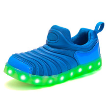 Summer Colorful Children's Caterpillar Light Shoes LED Light USB Rechargeable Night Light Shoes Fashion Men and Women Sneakers