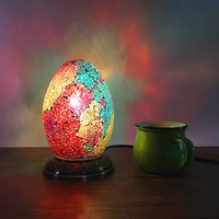LED Egg Light Turkish Mosaic Lamps For table decor handmade Mosaic Glass lampshade side table lamp retro Kids nightstand lamp