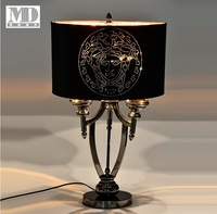 Italy Design 70cm Height Table Lamp / Satin Metal Rod / Medusa Fabric Shade