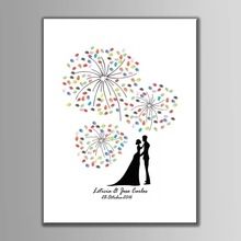 Wedding Fireworks Canvas Print DIY Fingerprint Signature Guestbook For Wedding Bride Groom Custom Name Date Party Decor wedding balloon canvas print diy fingerprint signature guestbook for wedding bride groom custom name date party decor