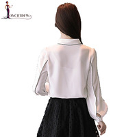 Spring Women Shirt 2018 New Long Sleeved Single Breasted Female Shirt Simple Lantern Sleeves Square Collar