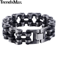 Trendsmax 7-11inch 20/24mm Gunmetal Matte 316L Stainless Steel Biker Motorcycle Bracelet Fashion Mens Boys Jewelry HB411-HB412