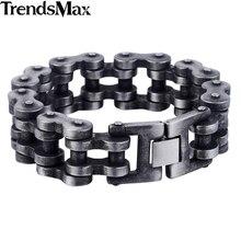 Trendsmax 7-11 pulgadas 20/24mm Bronce Mate Pulsera de Moda Mens Boys Acero Inoxidable 316L Del Motorista de La Motocicleta joyería HB411-HB412