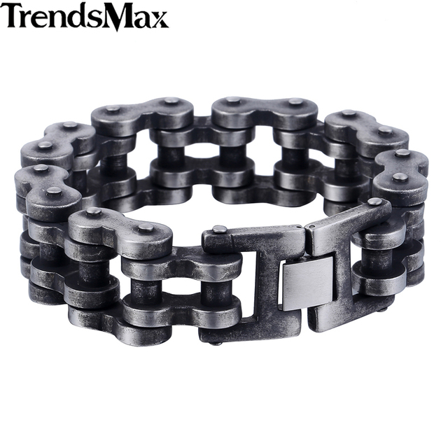 Trendsmax 7-11inch 20/24mm Gunmetal Matte 316L Stainless Steel Biker Motorcycle Bracelet Fashion Mens Boys Jewelry HB411-HB412