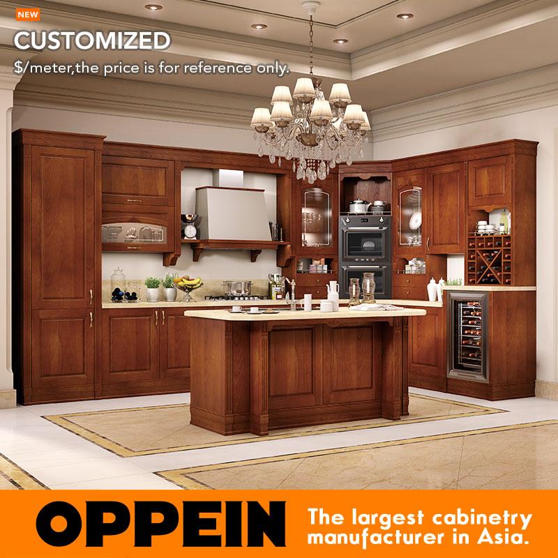 Oppein Antique Alder Wood Luxury Kitchen Cabinets Kitchen