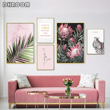Modern Inspirational Nordic Flowers Plants Combination Canvas Painting Zebra Poster and Prints Living Room Decorative