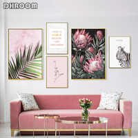 Modern Inspirational Nordic Flowers Plants Combination Canvas Painting Zebra Poster and Prints Living Room Decorative Painting