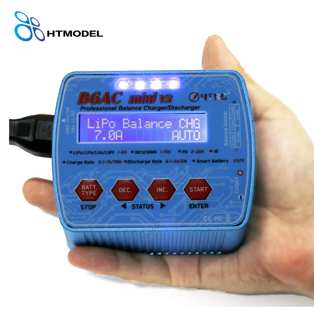 HTRC Imax Professional Digital Charger B6AC Mini 70W 7A RC Balance Charger for Lipo Lihv LiIon LiFe NiCd NiMH Battery Discharger