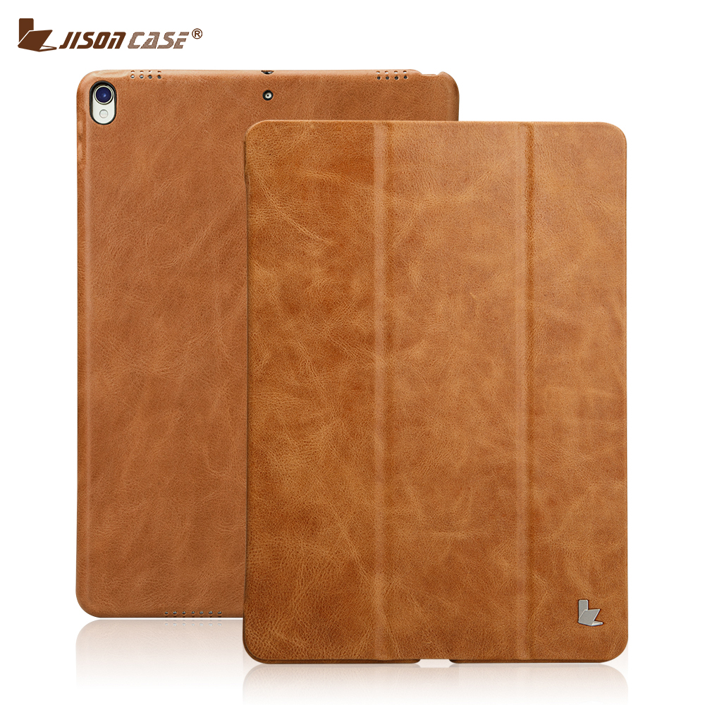 smart cover кожа - Jisoncase Leather Smart Cover for iPad Pro 10.5 2017 Case Leather Magnetic Back Cover Tablet Case for Apple iPad Pro 10.5 inch