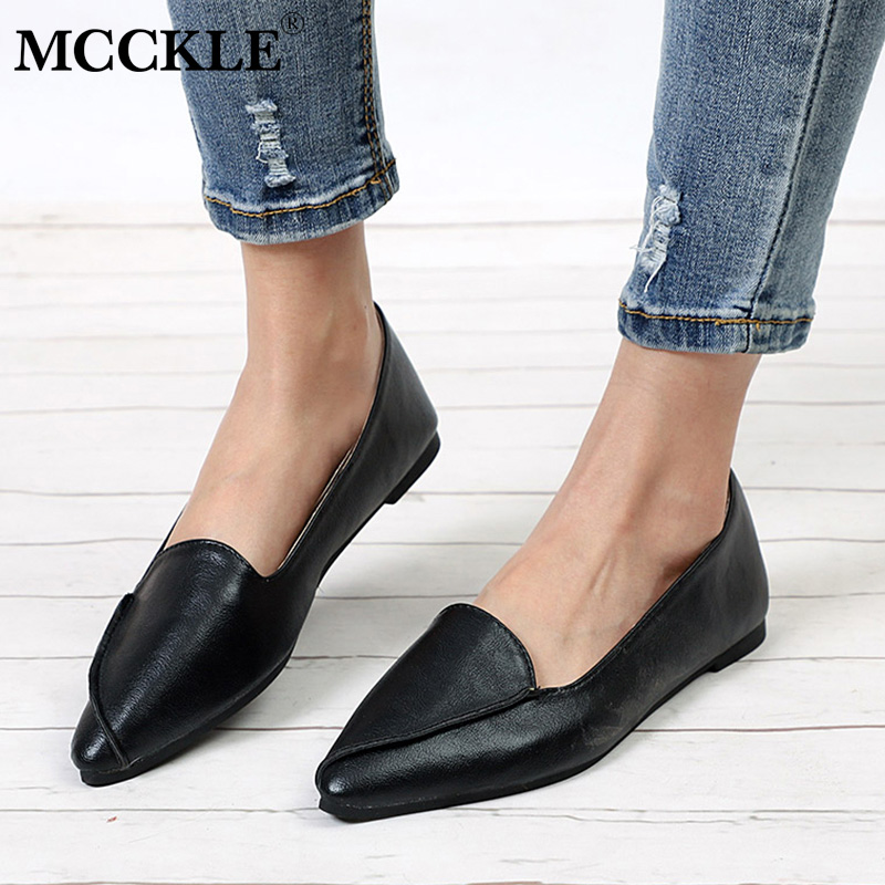 купить MCCKLE Casual Autumn Slip On Flats Women Fashion Pointed Toe Shallow Low Heel Shoes For Ladies 2018 Lesuire Solid Footwear по цене 548.22 рублей
