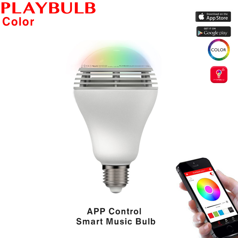 MIPOW PLAYBULB Color Smart LED Bluetooth Speaker Light Bulb Wireless APP Control Dimmable Atmosphere Lamp Home Party Decoration app controlled smart wake up light table lamp with bluetooth speaker