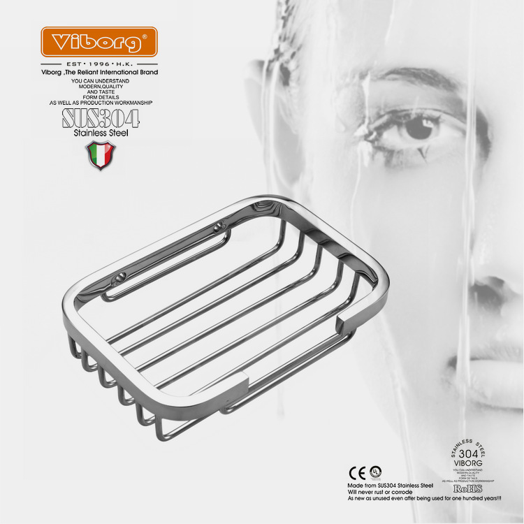VIBORG Deluxe Solid Thick Sus304 Stainless Steel Wire Wall Mount Mounted Bathroom Bath Shower Soap Basket Dish Shelf Holder