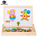 Multifunctional Wooden Toys Educational Magnetic Puzzle Farm Jungle Animal Baby Drawing Easel Board DIY Drawing Kids Jigsaw