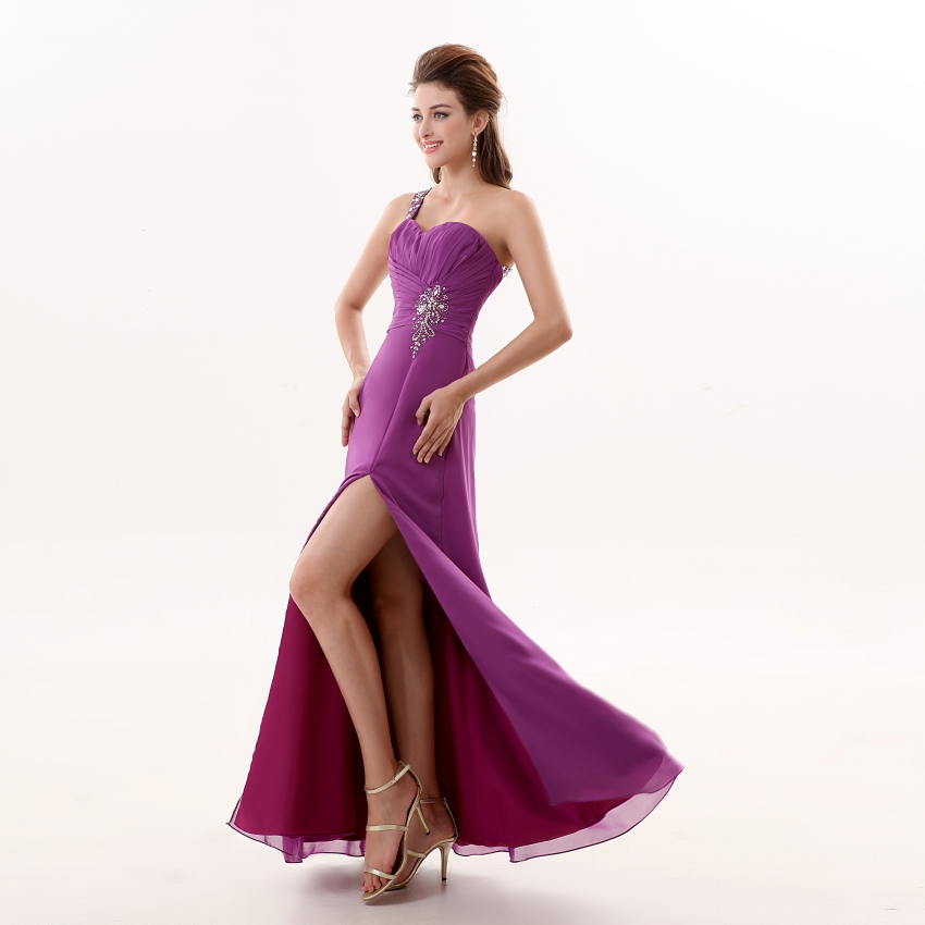 Sexy One Shoulder Purple Prom Dresses 2019 New Arrivals ...