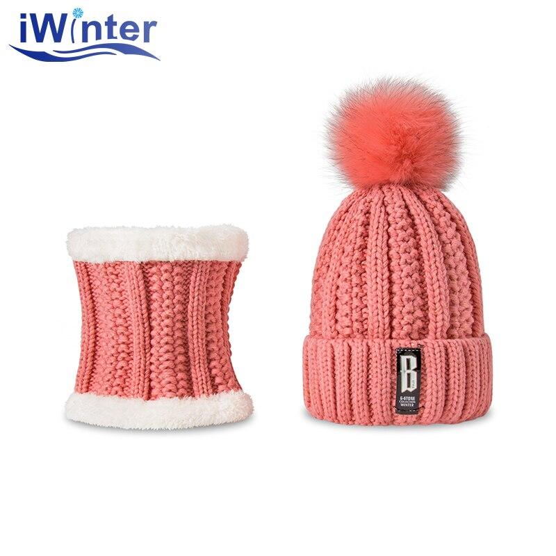IWINTER 2017 New Skullies Beanies Women Winter Hats Knitted Fur Ball Pom Pom Warm Crochet Hats Two Pieces Unisex Hats Scarves skullies