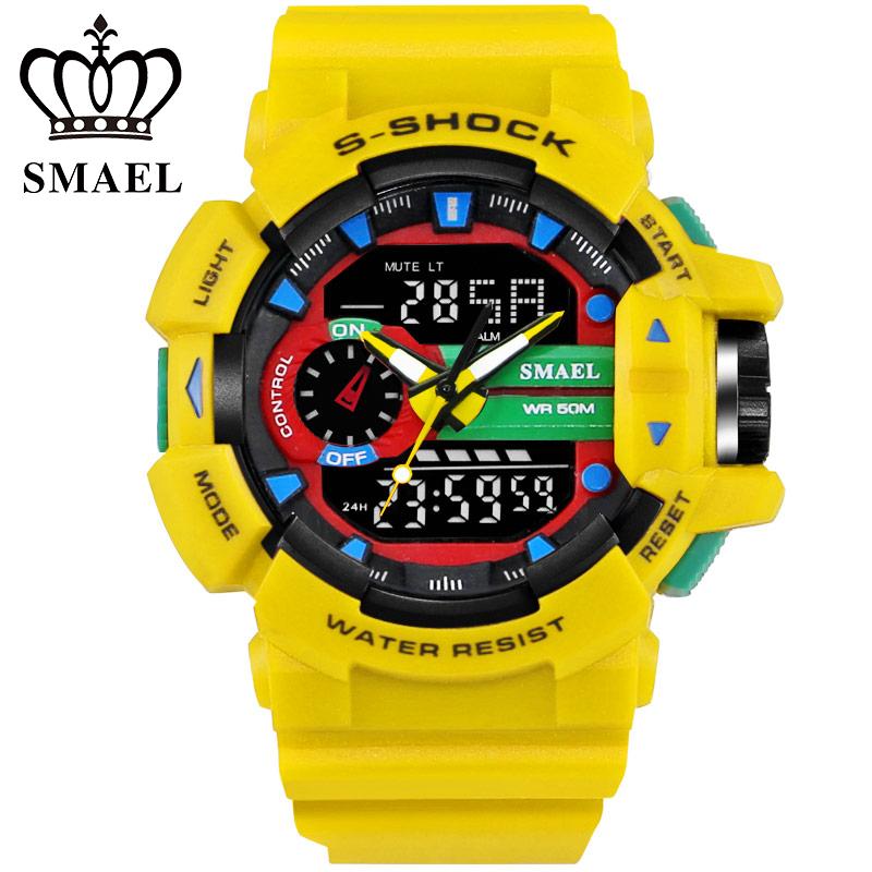 Prix pour Smael marque grand cadran sport montres dual time led numérique montre de quartz analogique-numérique hommes montres militaire ws1436