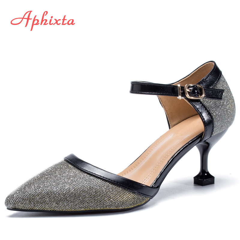 Aphixta 2018 Women Pumps Patent Leather Pointed Toe High Heels Shoes Woman Silver Bling Wedding Glitter Sequined Cloth Sandals