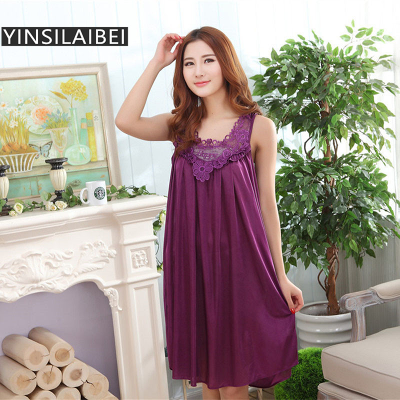 Plus Size Sexy Women Ice Silk Sleepwear Female Nightgown Women Nightwear for Ladies Night Shirts Home Clothing #0(China)
