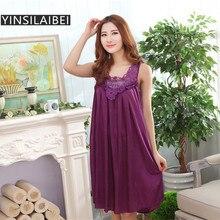 Размера плюс пикантные Для женщин льда шелковая ночная рубашка женская ночная рубашка Для женщин ночное белье для дамы ночные рубашки домашняя одежда#0