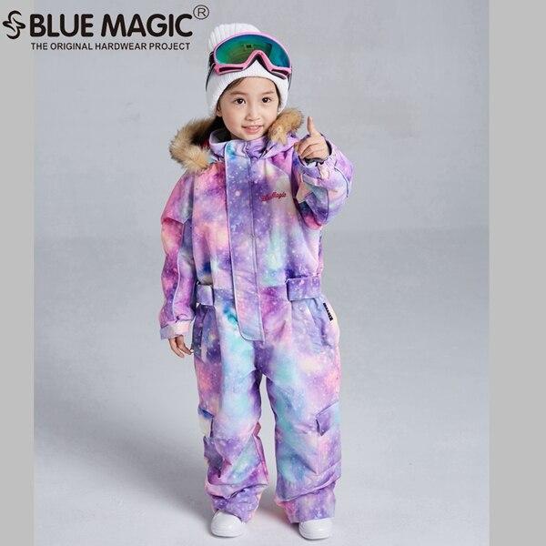 Bluemagic зимние лыжные костюмы для малышей, один предмет для детей, водонепроницаемый теплый комбинезон для девочек и мальчиков, Сноубордическая куртка, комбинезон-30 градусов - Цвет: pplglx