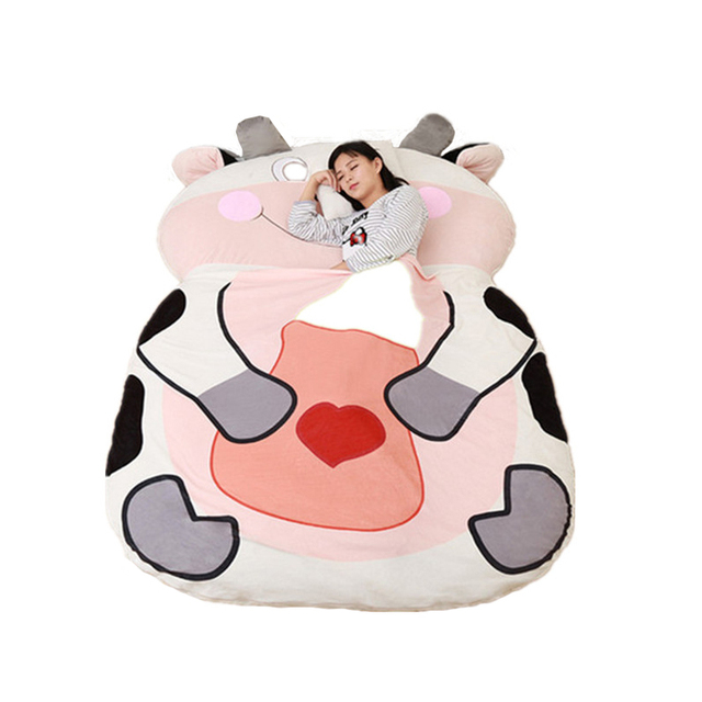 Fancytrader Giant Plush Cartoon Animal Cow Tatami  Stuffed Soft Beanbag Bed Carpet Mat Sofa