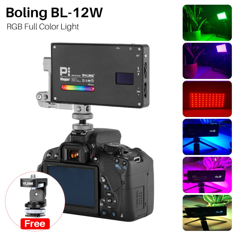 Boling BL P1 12W RGB Full Color Light Vloging Photography Lighting 2500K 8500K Dimmable for Canon