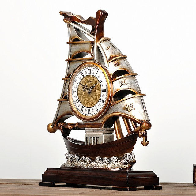 Li Sheng Retro America Continental Desk Clock Table Smooth Decorative Antique Watches Ancient Ship Large