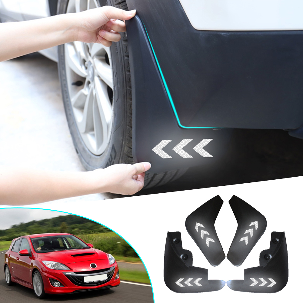 Car Front Rear Mud Flaps For <font><b>Mazda</b></font> <font><b>3</b></font> <font><b>2009</b></font> 2010 2011 2012 Splash Guards for Fender Mudguards Safety Reflective Warning Mudflaps image