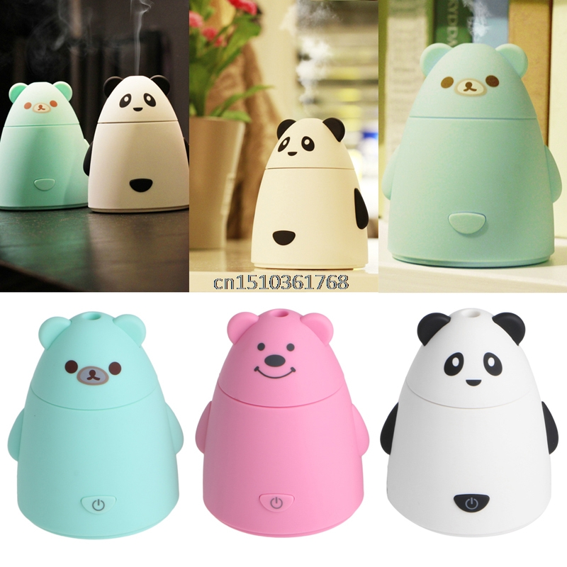 Cute Bear Shape USB Ultrasonic Atomizer Air Humidifier Steam Diffuser 80mL Mist #Y05# #C05#