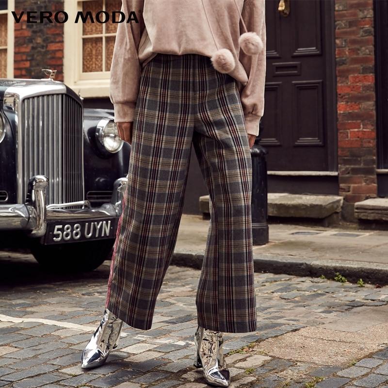 Vero Moda 2019 New Women's Velvet Side Plaid Spliced Casual Wide-leg Cropped Pants | 318350516