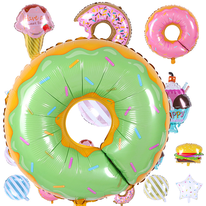 1pcs new ice cream popcorn cake hamburg donut pizza balloon birthday