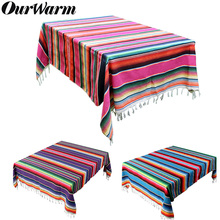 OurWarm 150X215cm Cotton Rectangle Tablecloth for Mexican Party Wedding Decorations Colorful Blanket Outdoor Table Cover
