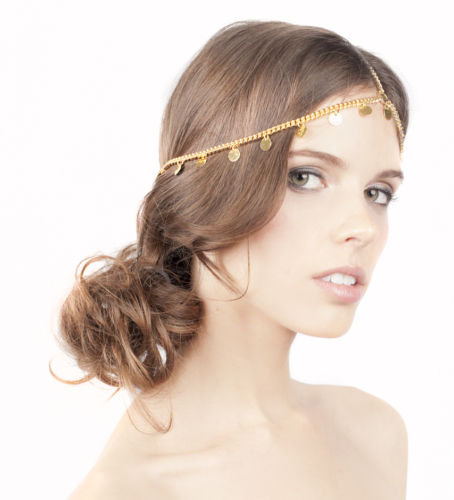 Romantic headchain Golden Multilayer diadema headband Tassel Sequin copper Thick Chain Indian hair accessories for women CF061
