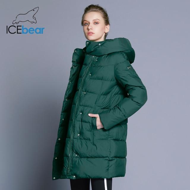 ICEbear 2018 Новый бренд одежды Зимний женский пуховик Лаконичный стиль пуховика Для миниатюрных девушек Подчеркивая Стройность Ног Куртка Зимний Женскийы Одежда для женщин 16G6128D