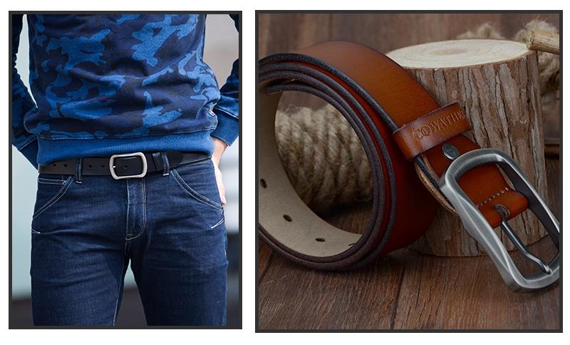 حزام COWATHER جلد طبيعي للرجال 39