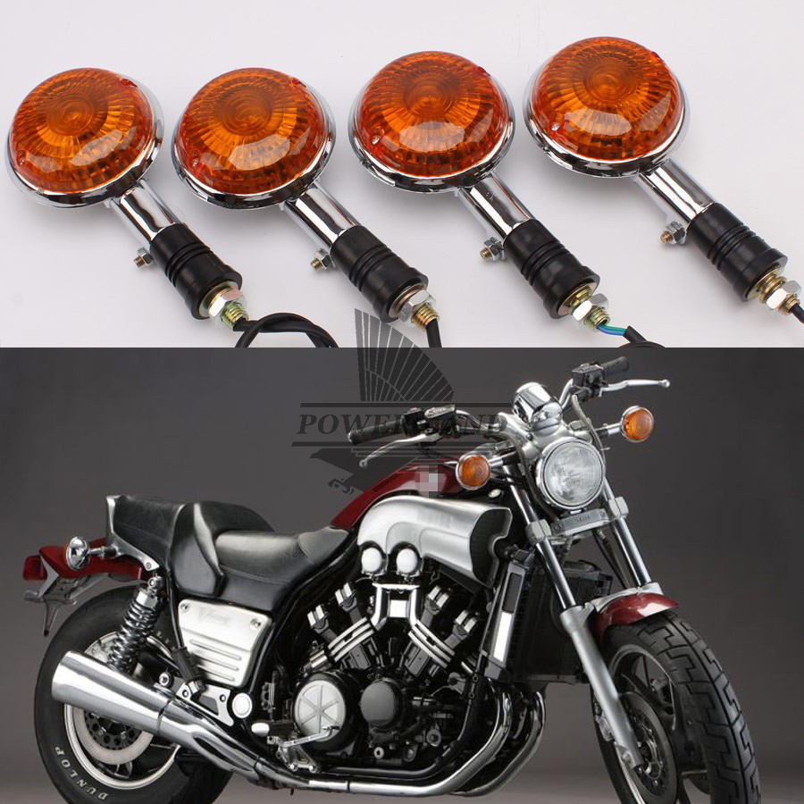 2pairs Mototcycle Amber Lens Amber Light Turn Signal Lights Lamp Indicators Universal For YAMAHA V MAX 1200 XVS 650
