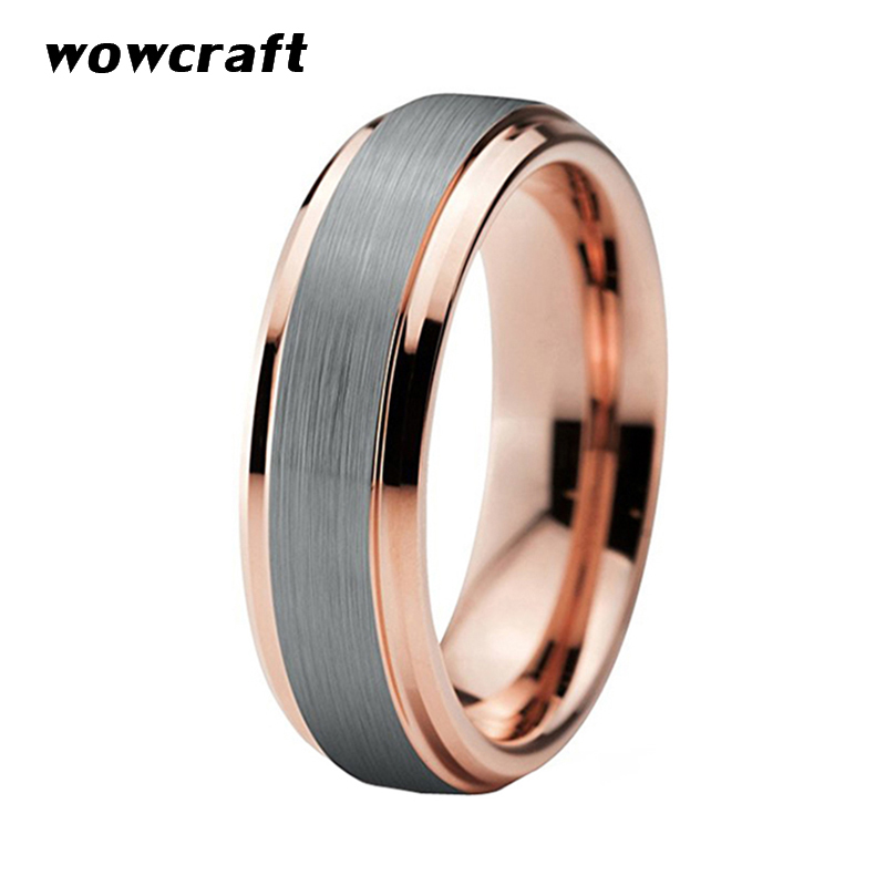 8mm Rose Gold Tungsten Wedding Band Silver Surface Matte Finish Womens Mens Engagement Rings With Bevel Edges in Wedding Bands from Jewelry Accessories