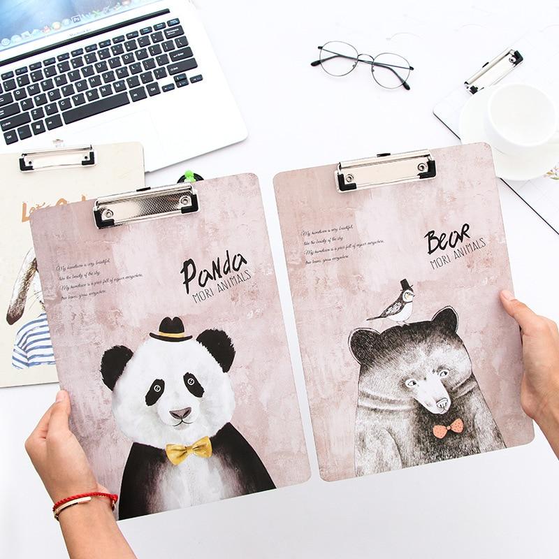 cute animal panda bear lion dog Clipboard a4 document wood file Folder clip board writing plate school office stationery