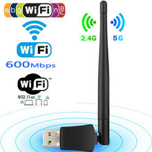 Double bande 600 Mbps 5 Ghz 2.4 Ghz USB WiFi antenne Dongle sans fil LAN adaptateur 802.11ac/a/b/g/n5/2.4 Ghz pour Windows bureau/ordinateur portable
