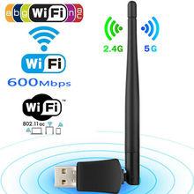 Dual Band 600 Mbps 5 Ghz 2.4 Ghz USB WiFi Antenne Dongle Wireless LAN Adapter 802.11ac/a/b /g/n5/2.4 Ghz Voor Windows Desktop/Laptop