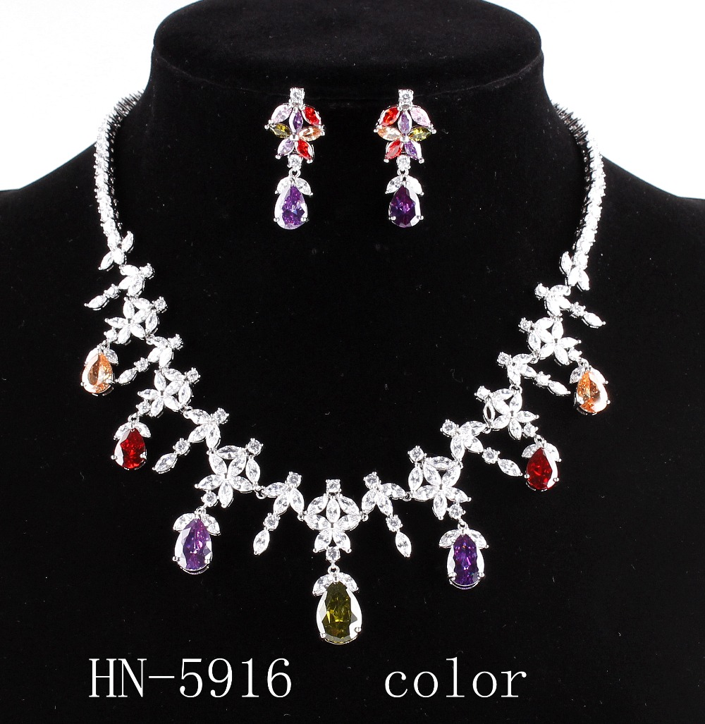 The bride adorn article the combination of luxury AAA zircon necklace and earrings, women's fashion jewelry necklace HN - 5916 mantra 5916