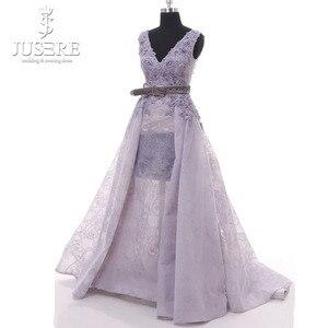 Image 4 - Jusere Encaje Vintage de lavanda con cuentas Sexy una línea vestido de fiesta hecho A mano de encaje rebordear púrpura vestido de noche Hajab 2019