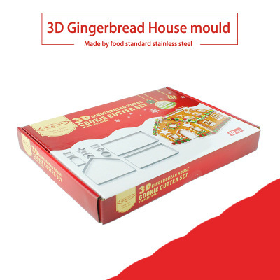 10pcs 3D Gingerbread house Stainless Steel Christmas Scenario Cookie Cutters Set Biscuit Mold Fondant Cutter Baking Tool 1