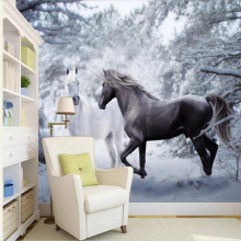 Snow scene black and white art fashion TV background professional production wallpaper mural custom photo
