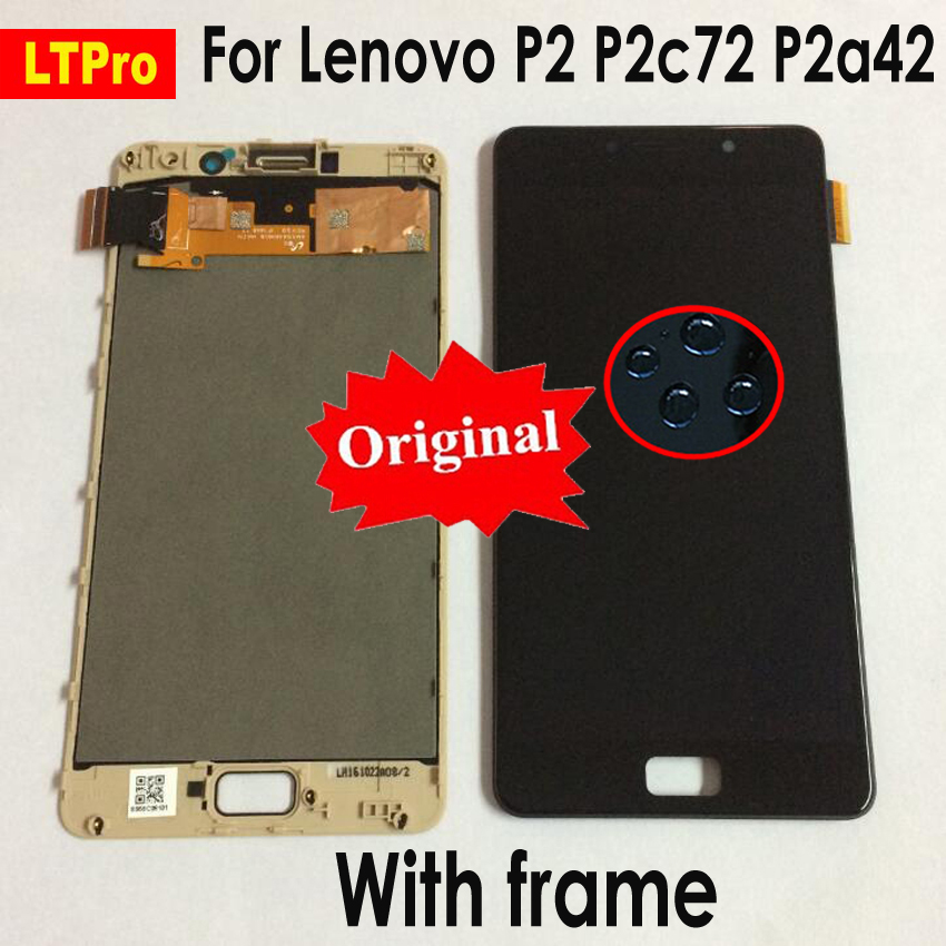 LTPro D'origine NOUVEAU LCD Pour Lenovo Vibe P2 LCD Affichage à L'écran Tactile Digitizer Assemblée Avec Cadre Pour Lenovo P2 P2c72 p2a42 LCD