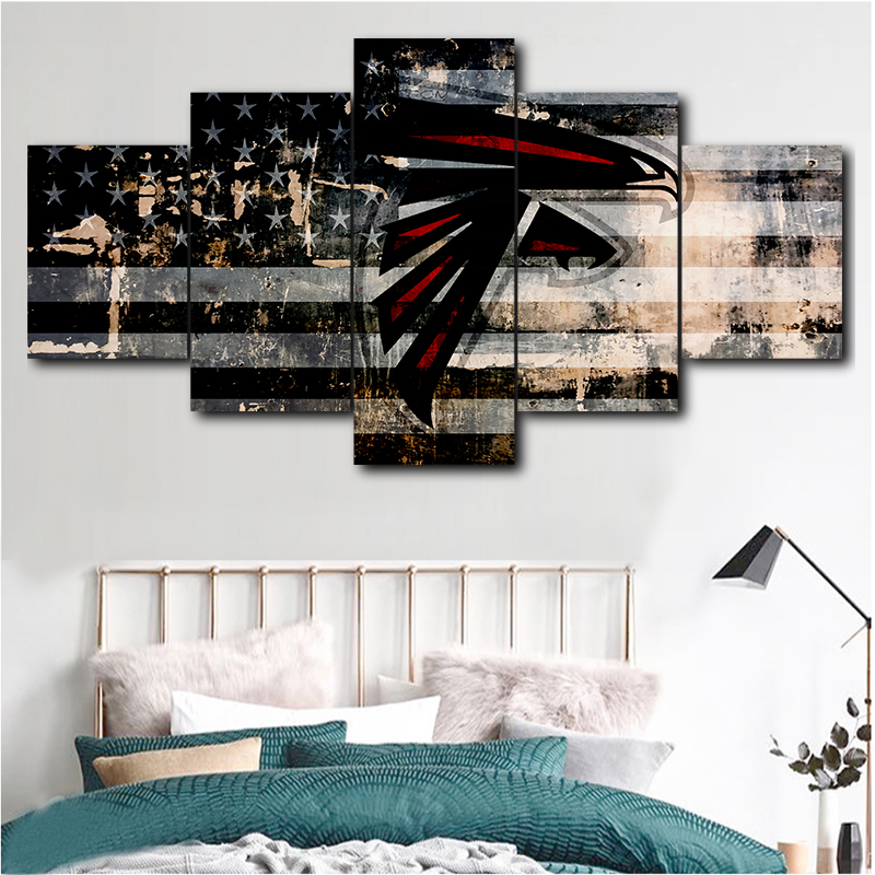 Modular wall art picture canvas HD print painting frame 5 pieces Atlanta Falcons sport <font><b>logo</b></font> <font><b>poster</b></font> modern home decor room image