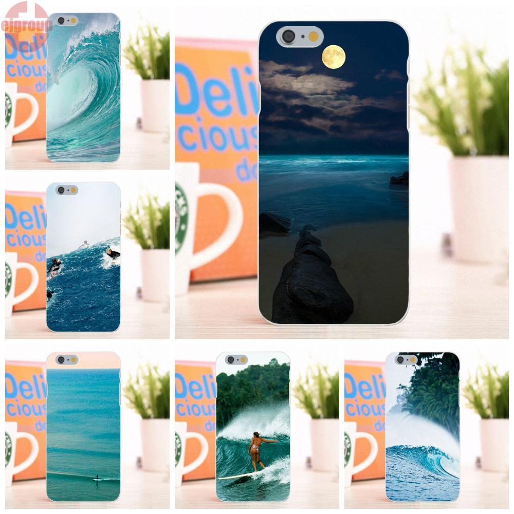 EJGROUP Soft TPU Silicon Accessories Pouches For Apple iPhone 6 6S 4.7 inch Surfing Wave Tumblr Good <font><b>Vibrations</b></font>