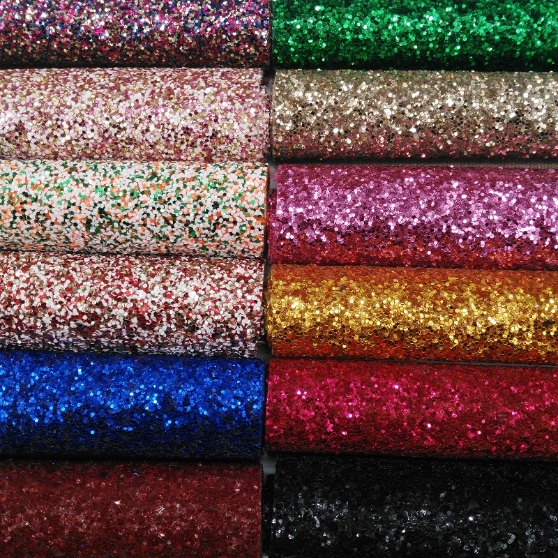 MQ207 30X134cm Chunky Glitter Leather Glitter Fabric Wtih Matching Backing for making bows shoes handbags and Party Decoration